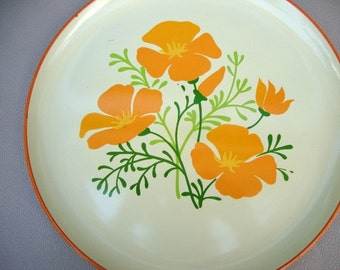 Vintage Retro Serving Tray with Orange Poppies - Vintage Serving Platter - 1960s - Mod Tray - Orange Poppies