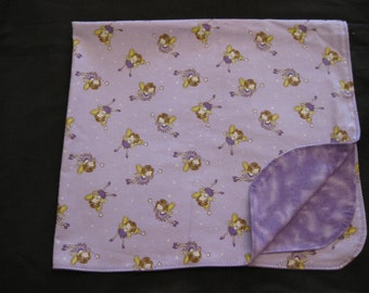 Fairy Princess Double Sided Flannel Purple Baby Blanket - Receiving - Shower Gift (B1)