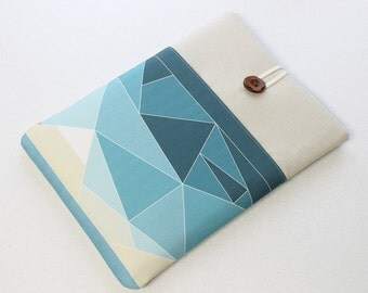 iPad Air case, iPad Retina sleeve, iPad cover, Teal triangles, Geometrical Landscape, Nexus 10 sleeve, custom tablet cover, padded sleeve