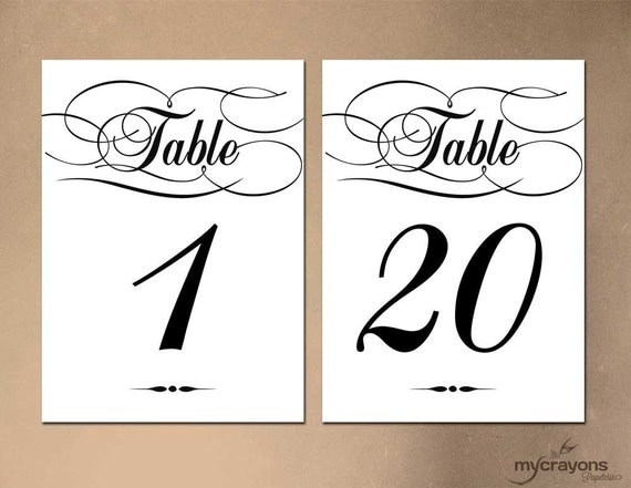 This is an image of Obsessed Free Printable Table Numbers 1-20