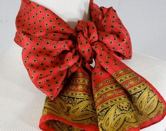 Vintage 1980s Silk Oblong Scarf, Jacqueline Ferrar Made in Japan