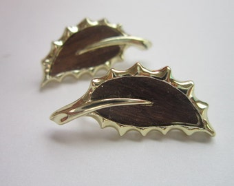 Vintage Faux Wood Sarah Coventry Earrings & Gold Tone Sarah Cov