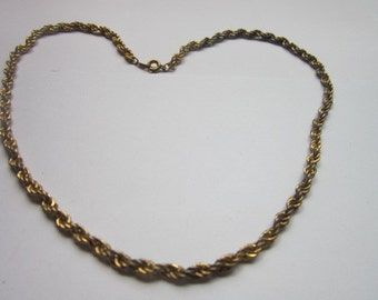 Vintage 18 Inch Rope Twist Gold Tone Necklace
