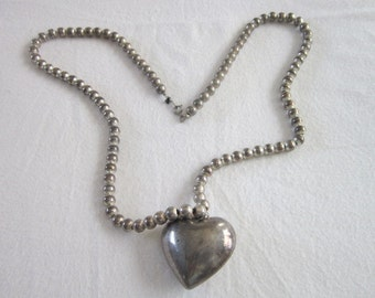 Vintage Silver Plate beaded Necklace & Large Heart Pendant