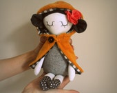 Doll in a yellow cape, Handmade Doll, Made With Love - Fililishop