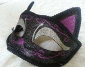 Black Halloween Cat Mask Purple Black Silver Sparkle Catwoman Mask