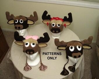 PATTERNS:  Moose crochet hats