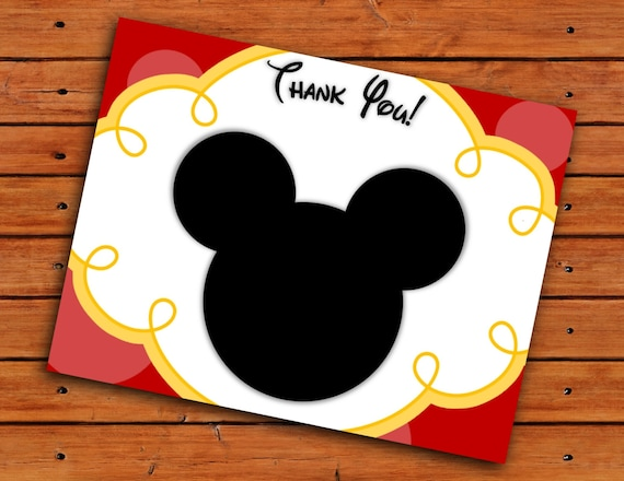 Mickey Mouse Head Thank You Cards Red and Yellow Printable