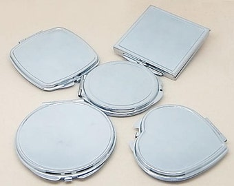 Pocket Mirror Blank Compact Mirrors Supply Silver Mirror Compact DIY Kits Round Mirror Best Gift Bridsmaid Gift Supply 200-001