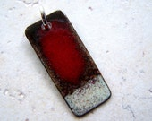 Copper Enamel Pendant Red and Brown Abstract Rectangle - EllianneEnamels