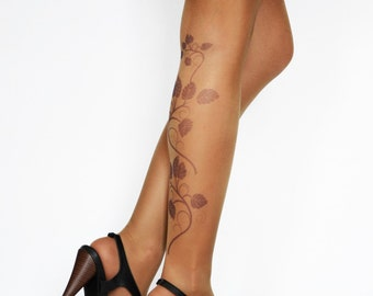 Tattoo Tights With Flowers Print, Hand printed  Womens Pantyhose