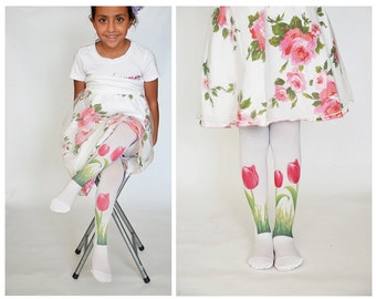 Girls Tights With Tulip,Kids Stockings, Hand Printed Tights,Childrens tights,baby leggings