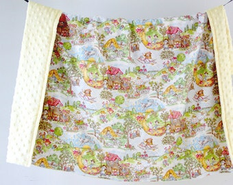 Large Baby/Toddler Blanket, Flannel Nursery Rhymes with Light Yellow Minky Dot, Ready to Ship