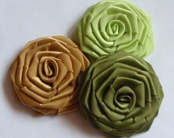 3 Handmade Ribbon Roses (2.5 inches) in Lt apple green, Dijon, Willow MY-141-01  Ready To Ship