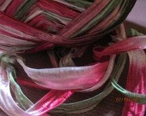 Satiny and Silky Chords  Rose, pink and light green 2 Yards