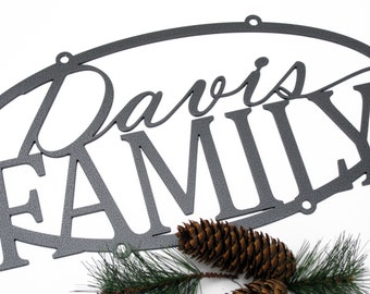 Custom Metal Outdoor Name Sign - Silver, 20x10, Personalized Wedding Gift, Family Name Signs,Outdoor Sign, House Sign, Name Sign, Metal Sign