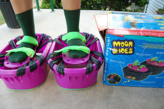 90s Purple Green Monster Platform Bouncing Moon Shoes One Size