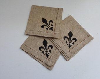 Vintage Linen Fleur-de-Lis Napkins,Fleur-de-Lis Guest Napkins,Linen Coasters