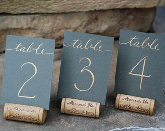 "Mini Wedding Table Numbers - Flat 2.5 x 3.5"" Cards in Color of Choice with Hand Calligraphy  in Color of Choice"