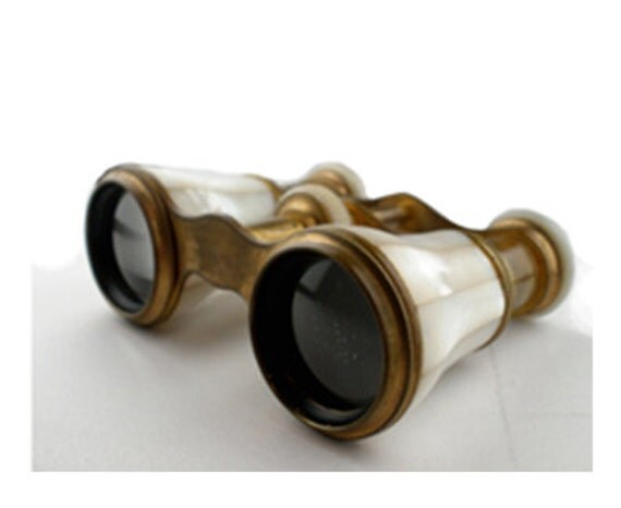 Antique Victorian Mother of Pearl and Brass Opera Glasses