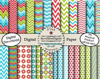 Red Blue Green Digital Paper - Instant Download, Colorful Scrapbook Background Paper with Flowers, Chevron, Polka Dots