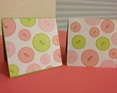 BUTTONS BUTTONS, All Occasion Handcrafted Mini Cards. Fun print of greens and pink buttons onAcid-Free linen cardstock, Blank Inside