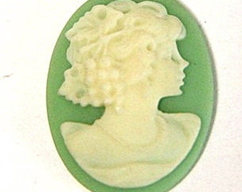 6 pcs of resin elegant lady cameo-RC0165-3-green