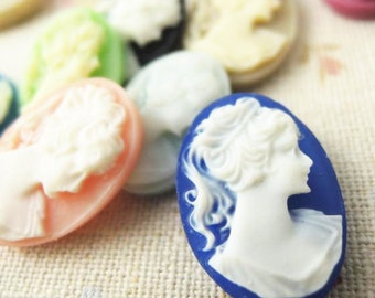20 pcs of 10 colors of resin cameo 13x18mm-RC0189A-stock color mix