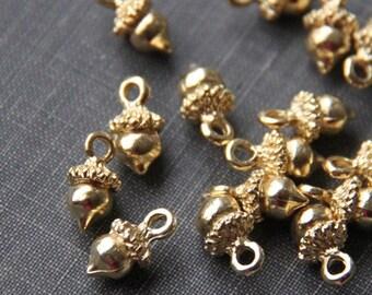 12 pcs of acorn charms 12x8mm-1223-18k gold
