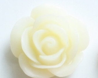 12 pcs  of resin rose cabochon 18mm-0022--15-cream white