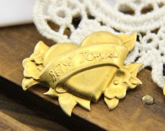 12 pcs of brass heart filigree stampler-20mm-1610