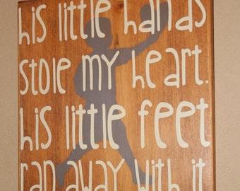 Baby Boy Nursery Decor, Nursery Wall Decor, Nursery Art, Baby Boy Gift - His Little Hands Stole My Heart