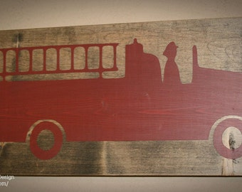 Firefighter Sign, Firefighter Decor, Distressed Wood Sign, Firetruck Sign, Firefighter Nursery, Firefighter Firetruck  - Fire Truck Sign