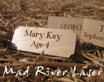 """2.5"""" x 1"""" Laser Engraved and Cut Wooden Personalized Nameplate - Baltic Birch"""