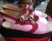 Vintage John Fluevog Mary Jane Sandals Pink and Red Leather Size 6