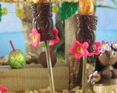 Tiki Torch pair for Tropical Fairy Garden or Cake Topper OOAK handmade