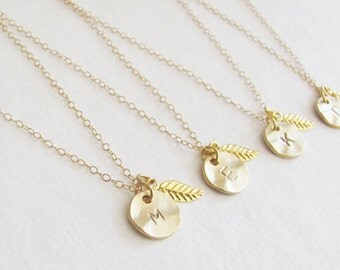 Set of Four Initial Charm Gold Leaf Necklaces, Bridesmaid Necklaces, Personalized Necklaces, Wedding Jewelry, Bridesmaid