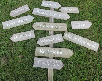 Directional Wedding Signs on a stake (build your own)  Personalized-Handmade Rustic wedding sign for Beach Wedding, Destination Wedding,
