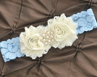 Wedding Garter, Bridal Garter - Blue Lace Garter, Keepsake Garter,  Ivory Wedding Garter, Ivory Bridal Garter, Something Blue Wedding Garter