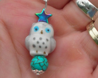 15% DISCOUNT! PORCELAIN grey OWL pendant with rainbow hematite star and silver plated chain: too cute.