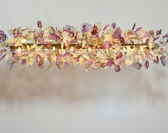 Ceiling light fixture with flower & leaves at Purple Gray and clear color for dinning table.
