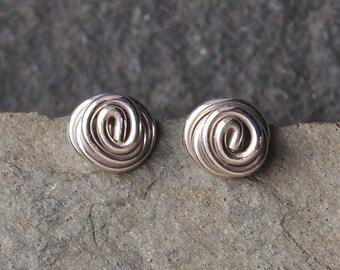 Silver earrings studs, handmade silver earring studs, argentium silver stud earrings, twist stud earrings, small silver studs, ARC Jewellery