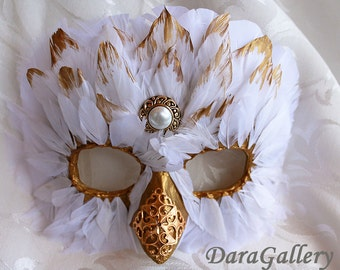 Snowy Owl Mask Custom Made Papier Mache Feather Bird Masquerade Mask