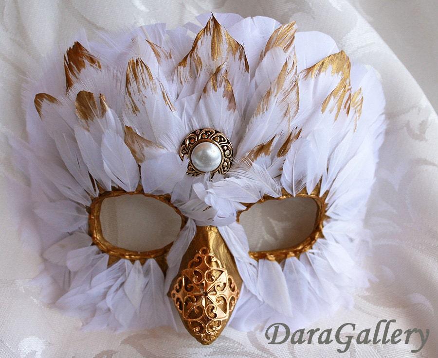 Snowy owl mask custom order papier mache feather bird for Diy paper mache owl
