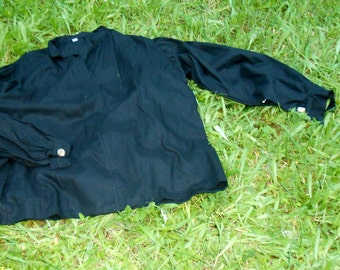 Black Linen Pull-Over Shirt
