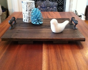 Reclaimed Dark Stained Pallet Wood Flat Serving Tray with Metal Handles