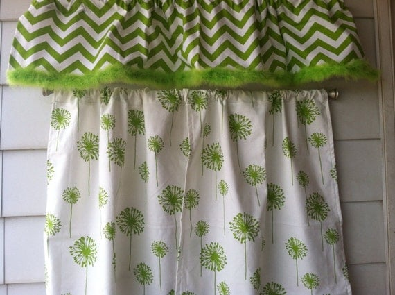 whimsical lime green curtains with maribou trim