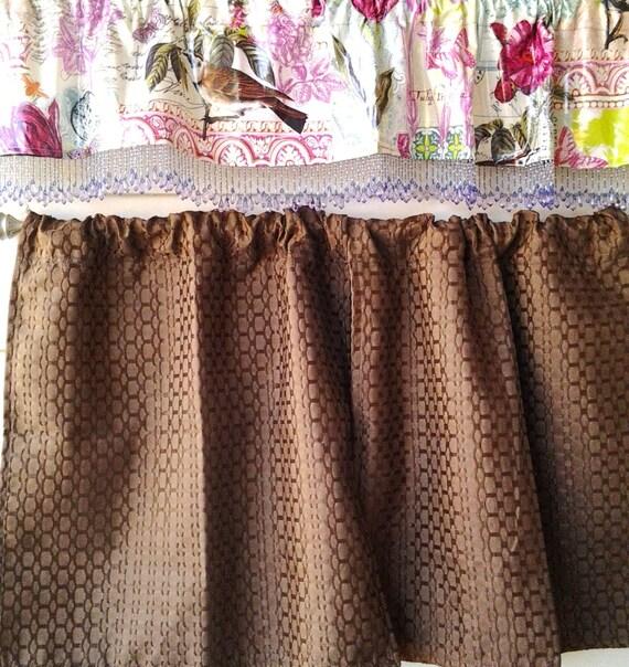 soldes rideaux marron chocolat avec cantonni re toile. Black Bedroom Furniture Sets. Home Design Ideas