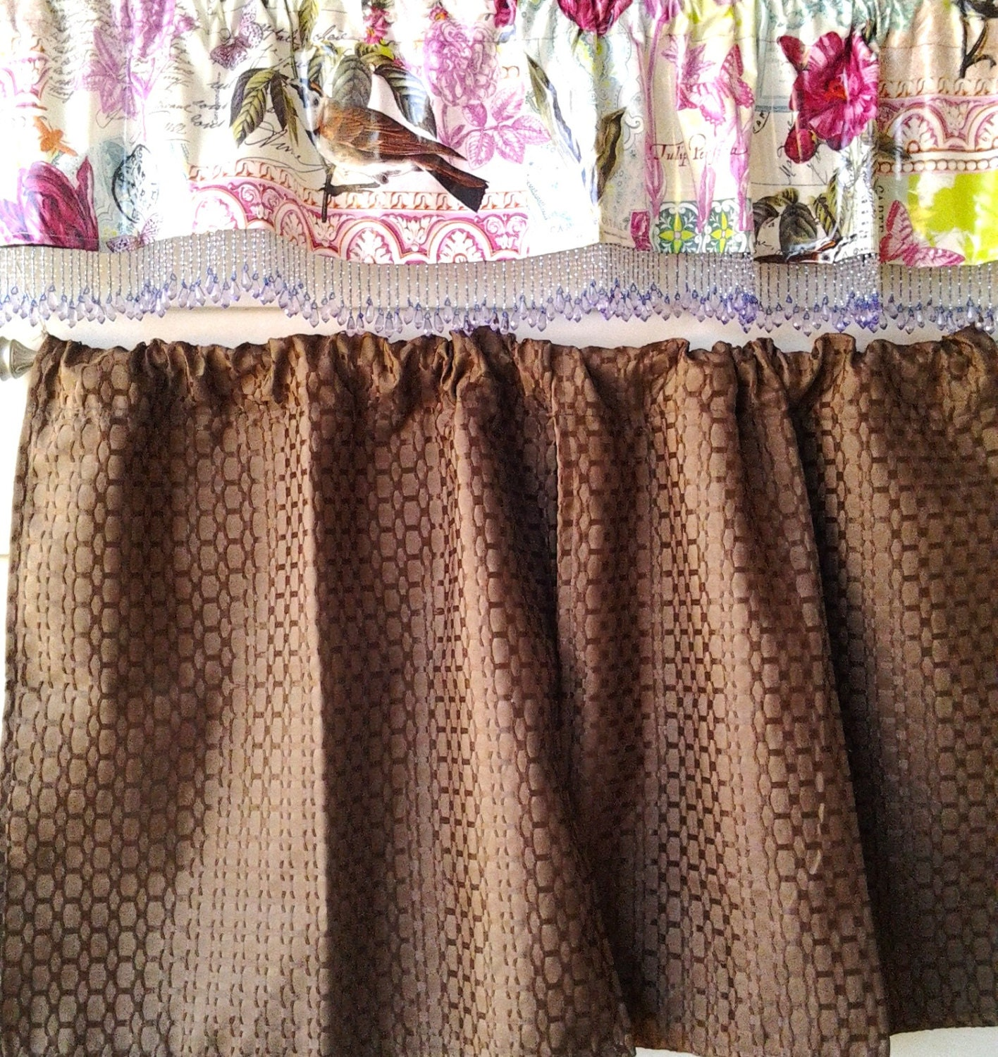 Chocolate Brown Curtains With Retro Oilcloth Valance