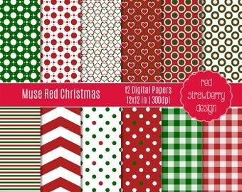 75% OFF Sale - Muse Red Christmas - 12 Digital Papers - Instant Download - JPG 12x12 (DP173)